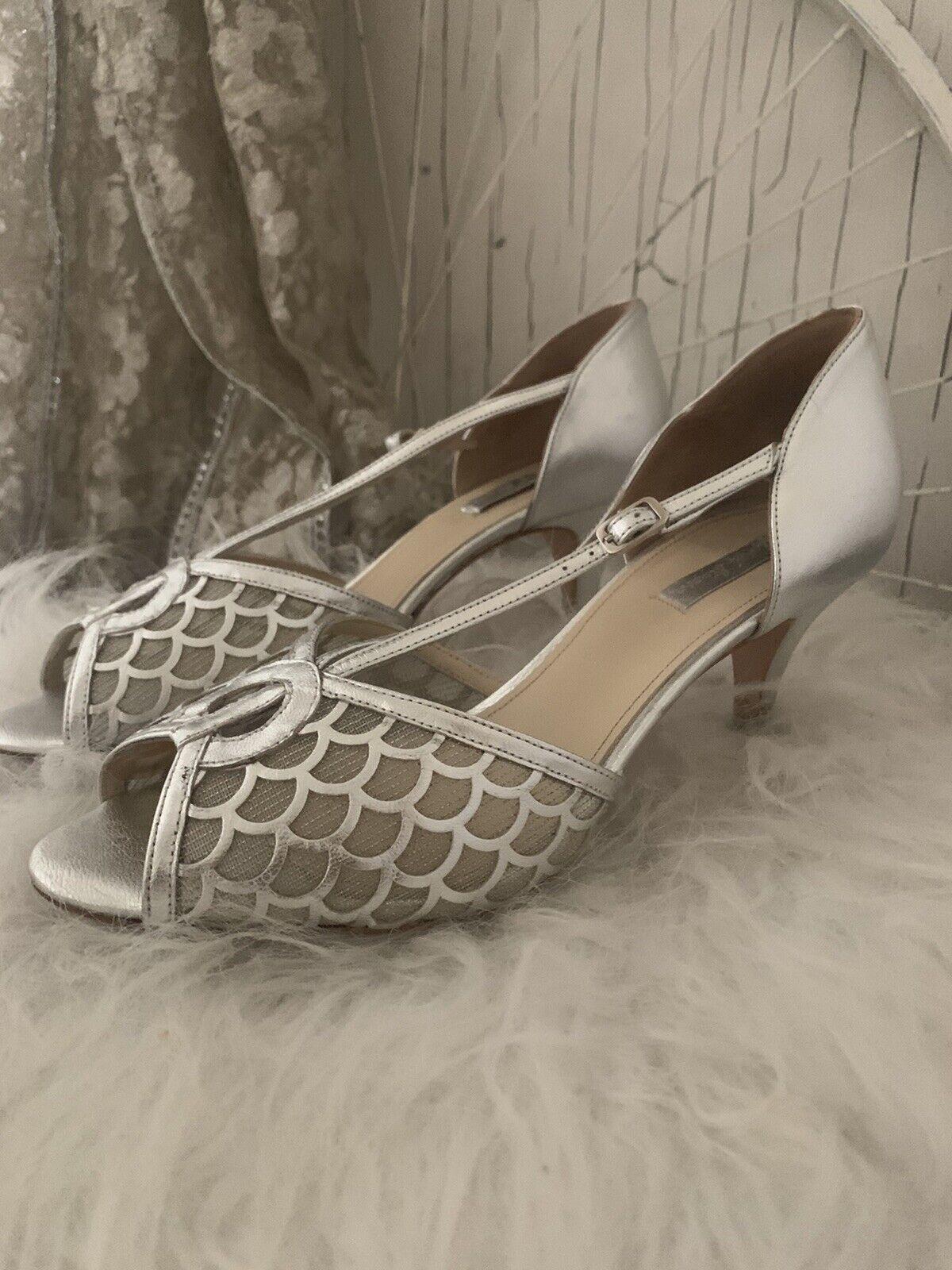 Rachel Simpson silver dress shoes kitten wedding