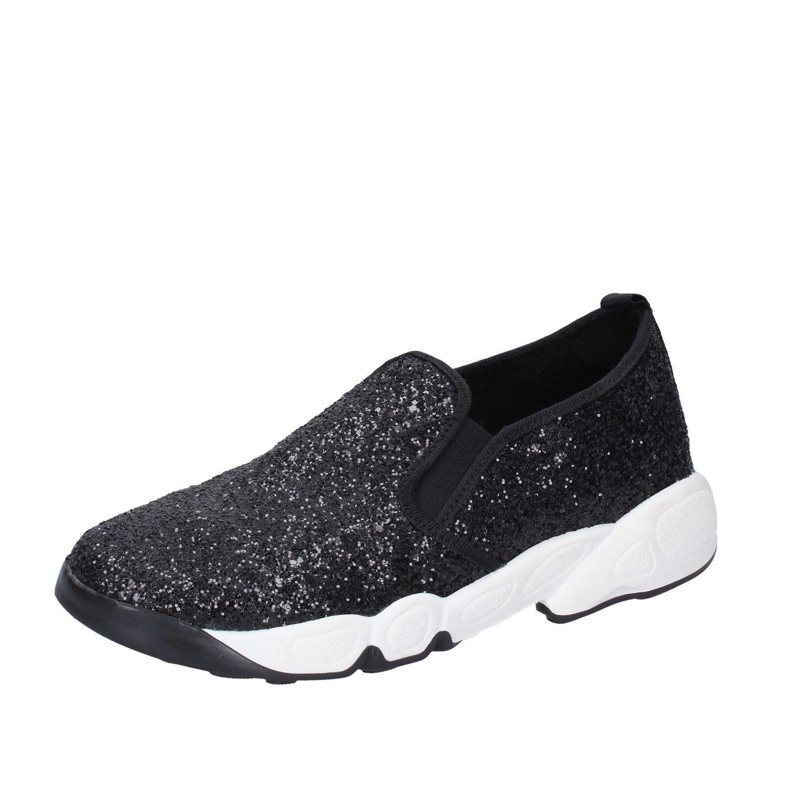 Zapatos señora olga Burini 36 UE mocasines mocasines mocasines slip on negro glitter bx789-36  Sin impuestos