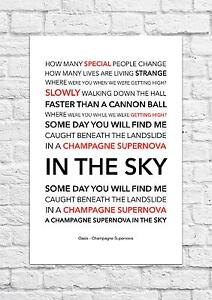 Details about Oasis - Champagne Supernova - Song Lyric Art Poster - A4 Size