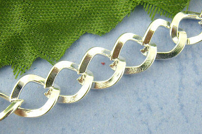 2M Silver Plated Square Curb Chains Findings 7x8mm