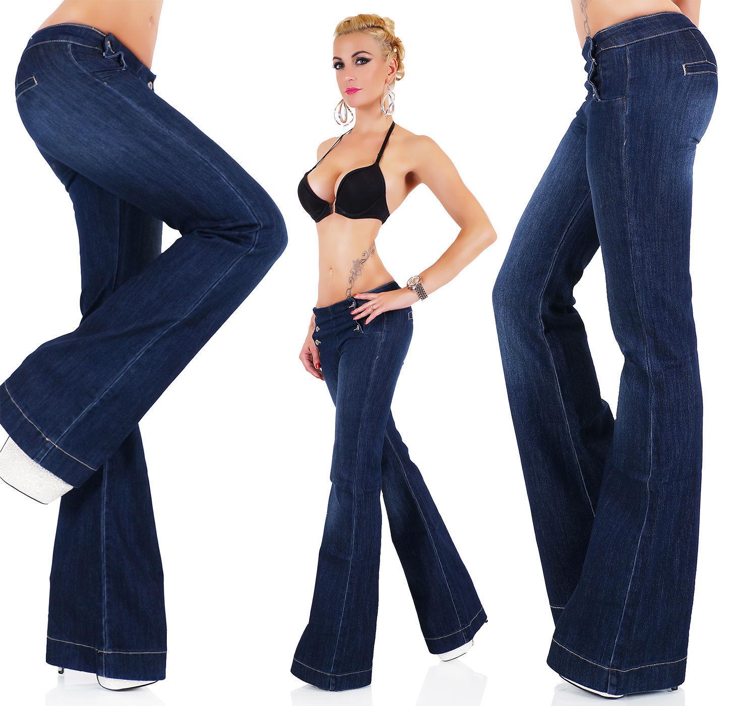 Donna Flare-Leg da Infilare Allungare i Jeans Denim - S   M L XL XXL