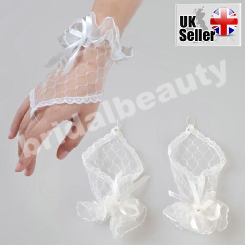 White Ivory 1st First Holy Communion Baptism Flower Girls Fingerless Lace Gloves