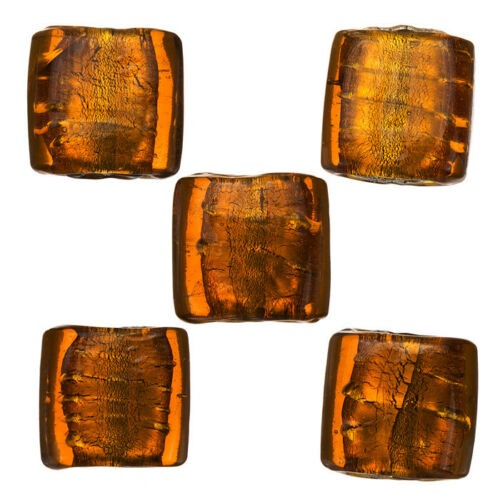 A81//11 14mm Silver Lined Lt Brown Flat Square Glass Bead PK5