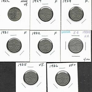 Canada-Canadian-5-Cent-George-V-Coins-1922-1936-Lot-Of-8