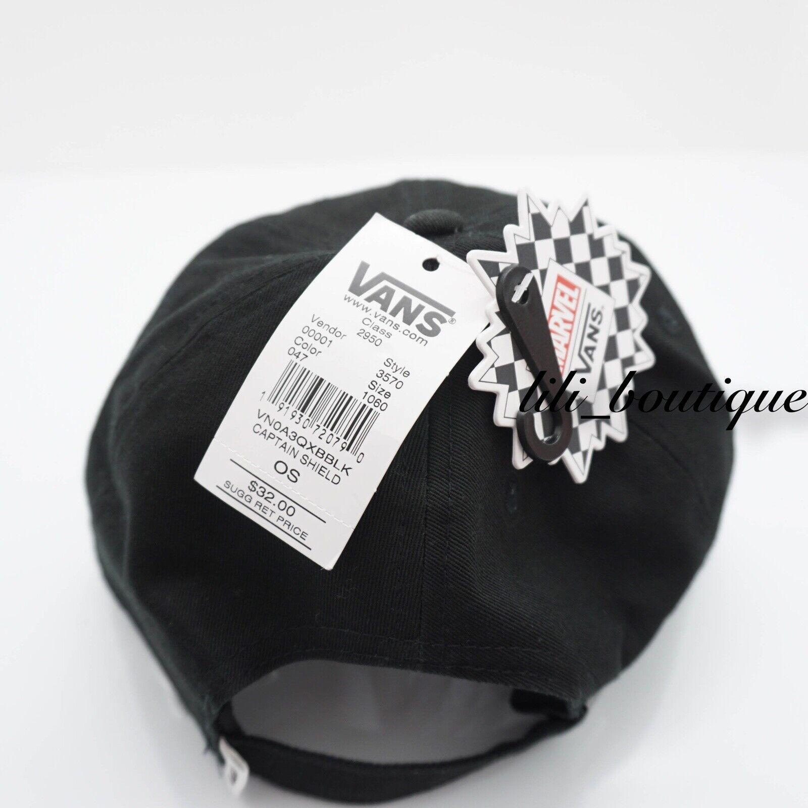 4615f0a45cd79 VANS X Marvel Captain America Shield Strapback Hat VN0A3QXBBLK Black for  sale online
