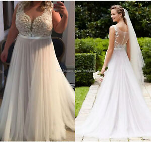 Details about Plus Size A-line Lace Wedding Dresses Through Back Summer  Beach Wedding Gowns