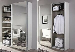 schuhschrank garderobenschrank flurschrank 2 trg b 181 spiegel weiss hochglanz ebay. Black Bedroom Furniture Sets. Home Design Ideas