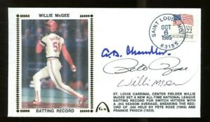 AB-Happy-Chandler-Pete-Rose-Willie-McGee-Signed-FDC-Autographed-56214