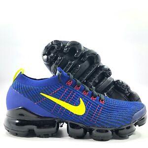 Nike-Air-Vapormax-Flyknit-3-Deep-Royal-Blue-Yellow-Red-AJ6900-402-Men-039-s-8-5