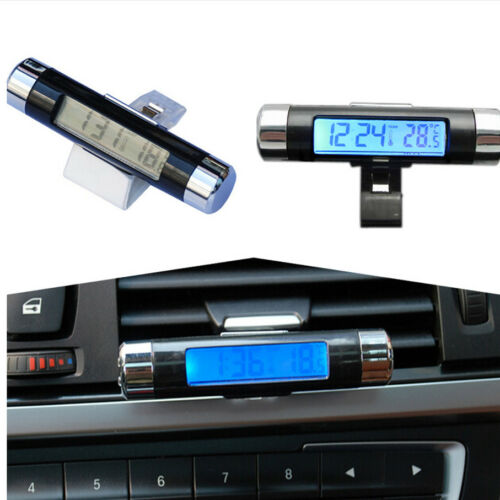 Car Suv Air Vent Clip Digital Display Clock Time Thermometer Blue LED Backlight
