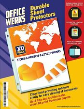 Officewerks Clear Sheet Protectors 100 Pack Reinforced Holes 85 X 11 Inches