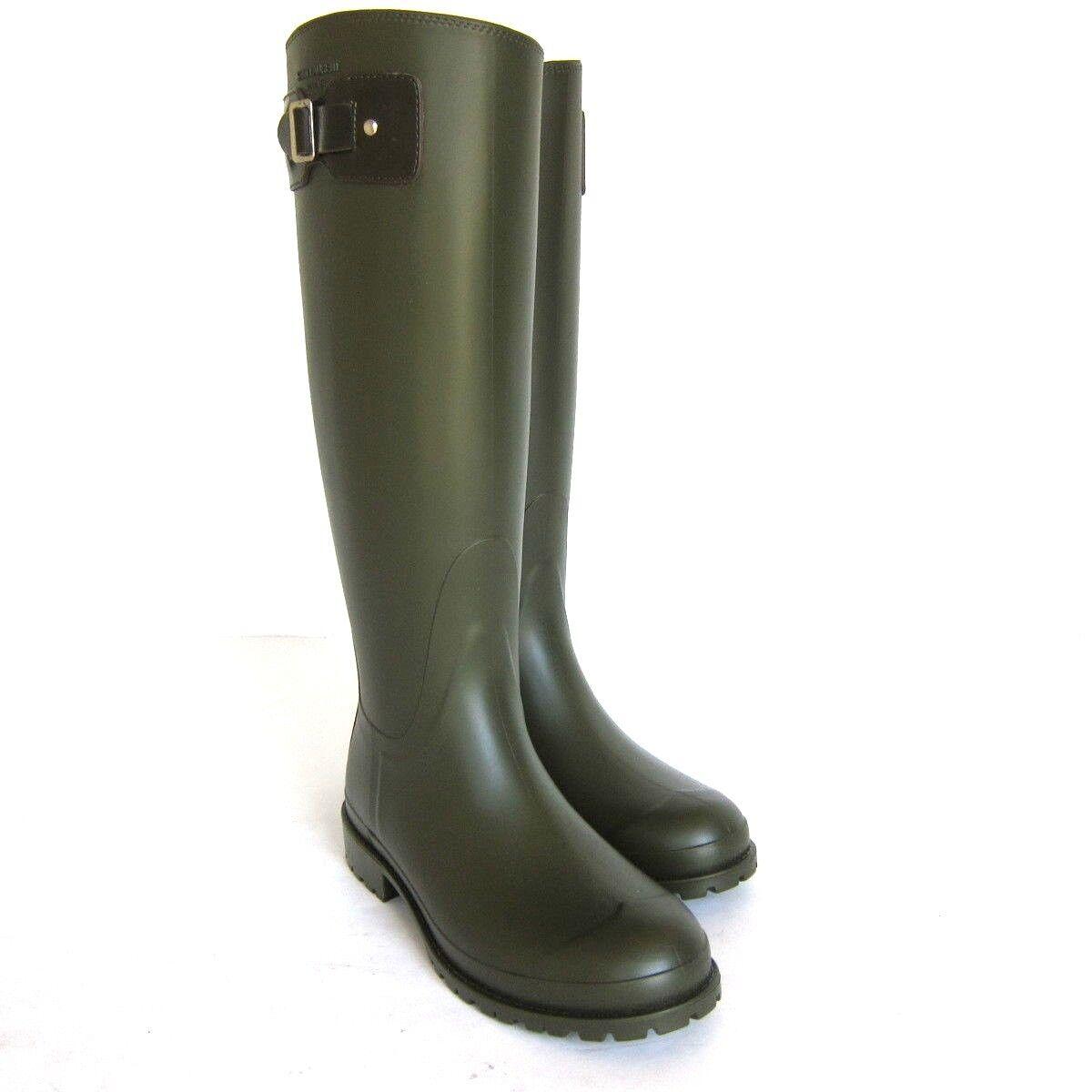 S-2224972 New Saint Laurent Khaki Rubber Rain Boots Shoes US 9/marked 39