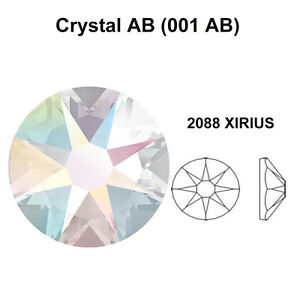 CRYSTAL-AB-001-AB-Genuine-Swarovski-2058-amp-2088-Flat-Back-Rhinestones-All-Sizes