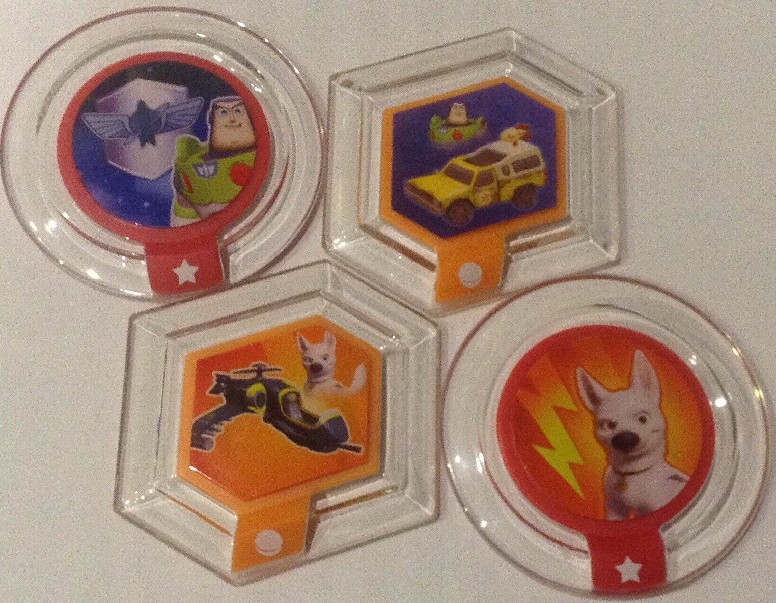 4x Disney Infinity Power Disc Toy Story Pizza Truck & Buzz & Bolt & helicopter