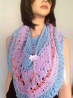 Cotton Hand Knit Circular Shawl Wrap Cowl Designer Fashion Hip Flower Gift Lace