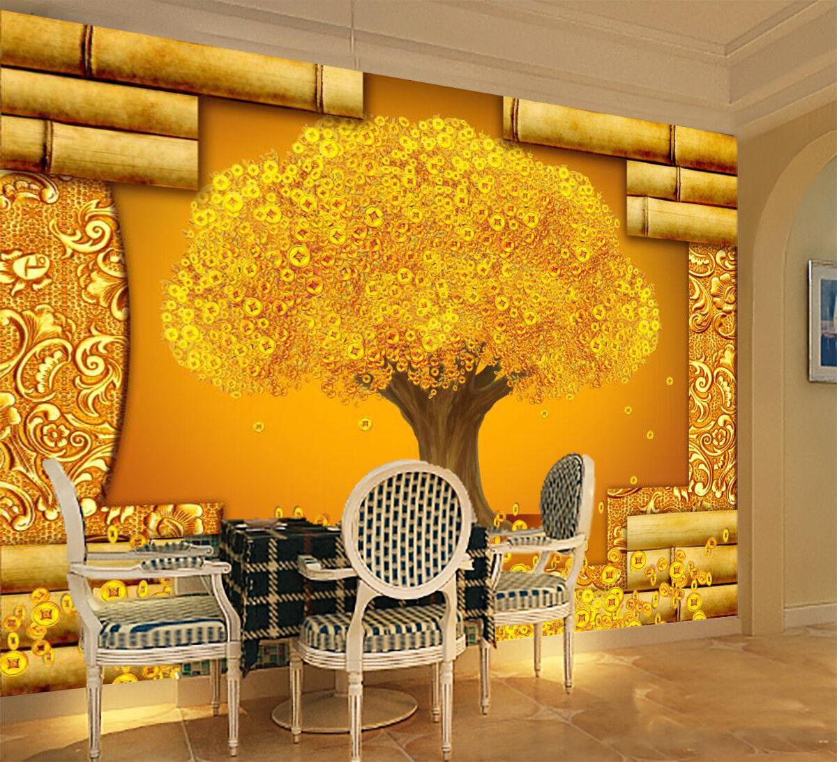 3D gold Money Tree 74 Wall Paper Murals Wall Print Wall Wallpaper Mural AU Kyra