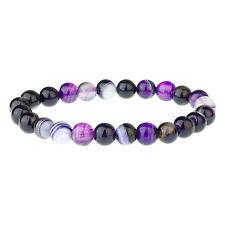 Purple Agate Men's Gemstone Bead Bracelet by Urban Male 8mm Sized Beads