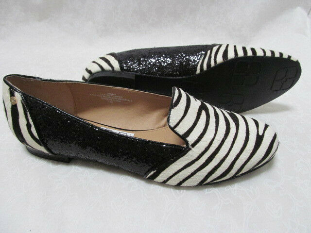 59 IMAN ZEBRA LEATHER HAIRCALF & BLACK GLITTER Schuhe SIZE 8 W - NEU