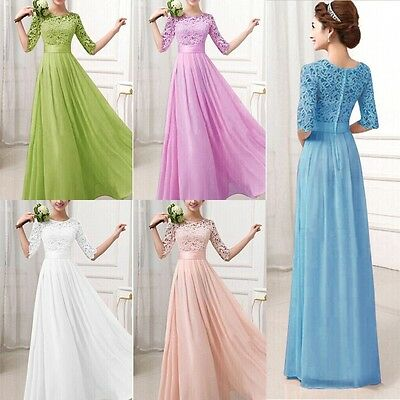 SUMMER LACE SEXY New Long Bridesmaid Gown Ball Party Cocktail Evening Prom Dress