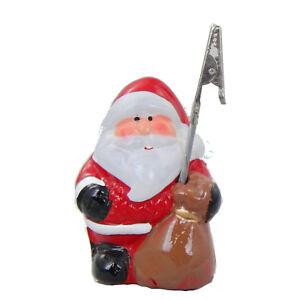 Kartenhalter-Weihnachten-034-Weihnachtsmann-034-Keramik-handbemalt-Tischdeko-8x5cm