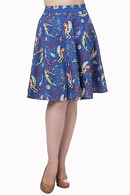 Women/'s Night Blue Vintage Retro Midi Di Di Swing Skirt By Banned Apparel