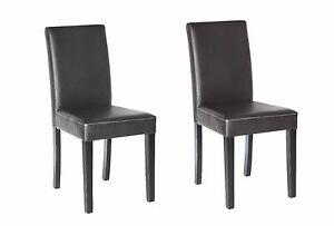 Set Of 2 Elegant Design Leather Modern Dining Chairs Room