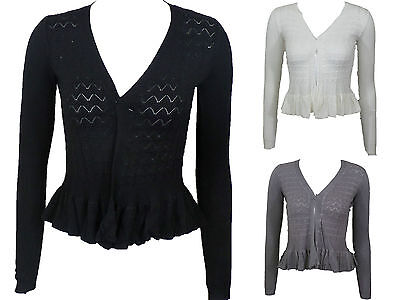 Einfach New Imported Women Ladies Long Sleeve Knitted Peplum Frill Blazer Cardigan Shrug