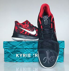 low priced 46839 6d9ed Details about Nike Kyrie Irving 3 III Samurai AUTOGRAPHED Size 12 SIGNED  852395 900 Blue Red