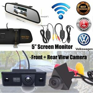 Wireless-Front-View-Camera-Reversing-Camera-5-034-Screen-for-VW-Tiguan-T4-T5