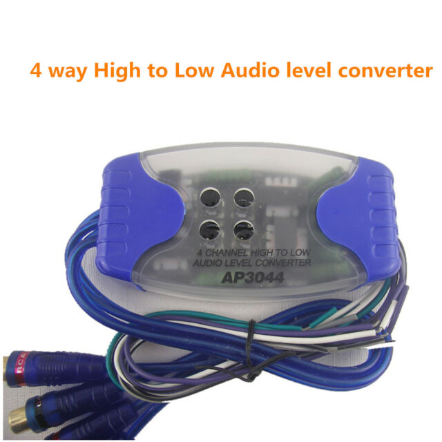 CAR AUDIO STEREO SPEAKER WIRE to RCA ADAPTER LINE OUT HIGH LEVEL LOW CONVERTER