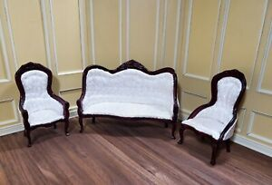 cool 12 scale dollhouse living room set | Dollhouse Miniature Victorian Living Room Set Sofa Chairs ...