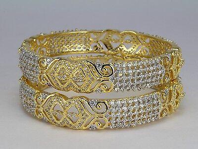 2 Tone Gold plaed AD Bangle bracelet kara new fashion jewellery wedding party