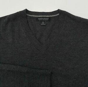 Banana Republic Men's Extra Fine Merino Wool V-Neck Sweater Gray Heather L Large