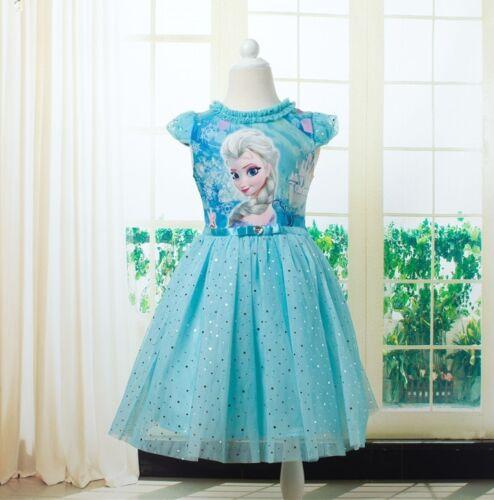 Mädchen Eiskönigin Gefrorene Anna Elsa Kleider Kostüm Tüllkleid Festkleid heiß