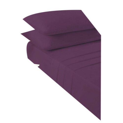Non Iron Percale Fitted Sheet Luxury Polycotton Flat Sheets Pair of Pillow Cases