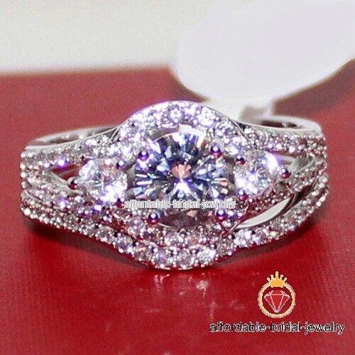 White gold Finish Ladies White Round Cut Diamond Engagement Halo Bridal Ring Set