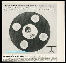1957 Herman Miller George Nelson modern lazy susan table photo vintage print ad
