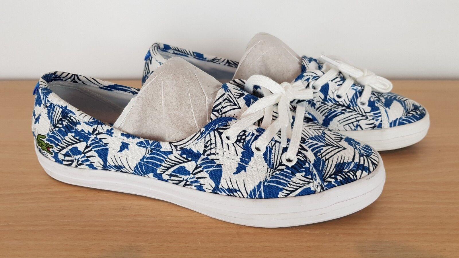 Lacoste Ladies Ziane Chunky Fun bluee Black Canvas Flats Pumps shoes, UK 4 EU 37