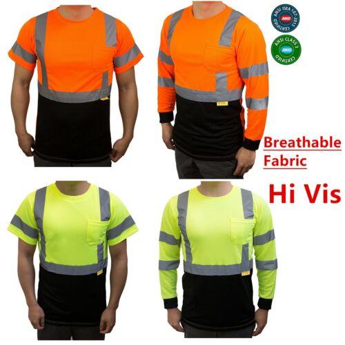 Hi Vis ANSI Class 3 Safety Shirt  Moisture Wicking Mesh Long Sleeve Reflective