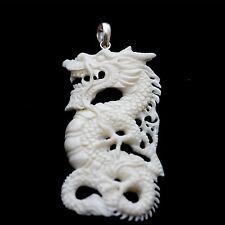 Pendant necklaces organic white bone dragon SILVER necklaces jewelry PBJ-037 new