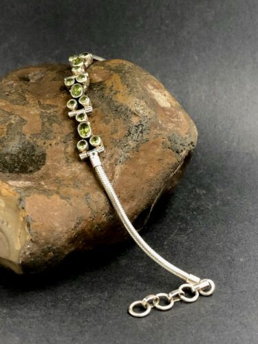 Details about  /UNIQUE PERIDOT GEMSTONE BRACELET set in 925 STERLING SILVER  FREE SHIPPING !!