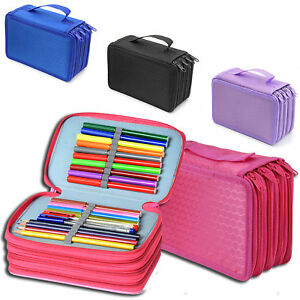 Large Capacity School//College//Uni Pen Pencil Cases Zip Stationery Pouch Bags UK
