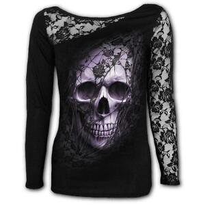 GOTHIC ELEGANCE Womens Lace Layered Cap Sleeve Top Spiral