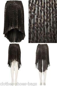 Topshop-Animal-Print-Dip-Hem-Pleated-Skirt-Size-6-8-10-12-14-16-BNWT-FREE-P-amp-P