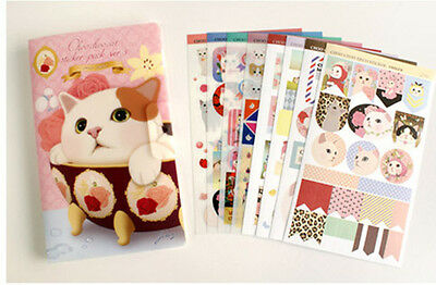 8sheet red cover lovely cat diary calendar albums sealed envelope stickers