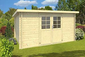 34 mm gartenhaus ca 400x300 cm holz pultdachhaus. Black Bedroom Furniture Sets. Home Design Ideas