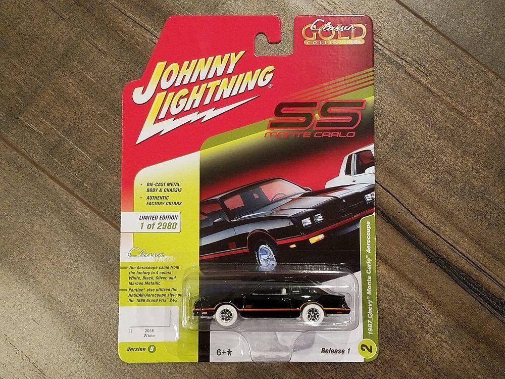 diseño único Johnny Lightning 1 64 1987 1987 1987 Chevrolet Monte Cochelo AEROCOUPE de jlcp 7109 Chase coche  alta calidad general