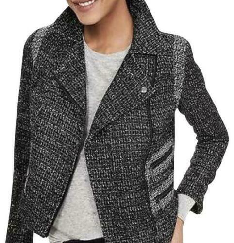 Banana Republic Black White Tweed Pieced Moto Style Asymmetrical Zip Jacket 6