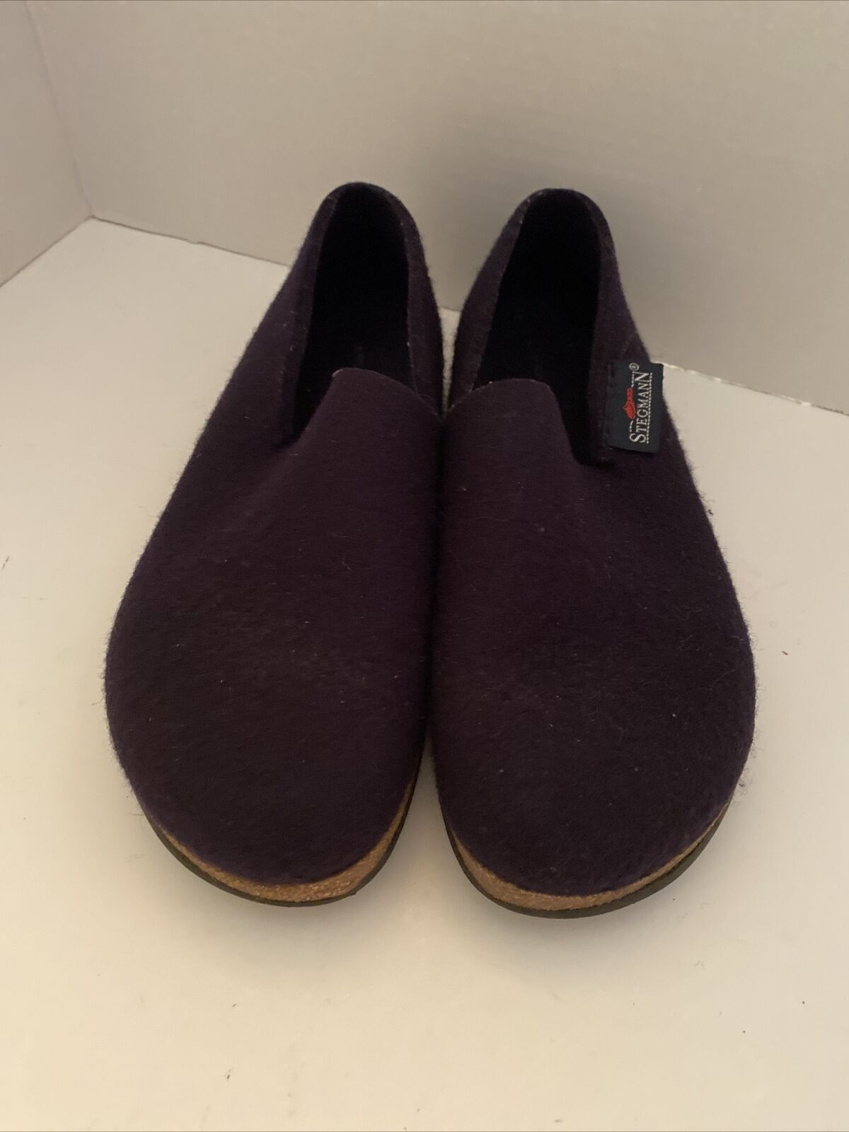 Womens STEGMAN Original 108 Wool Clog Shoe Cork Sole Blue Sz 7