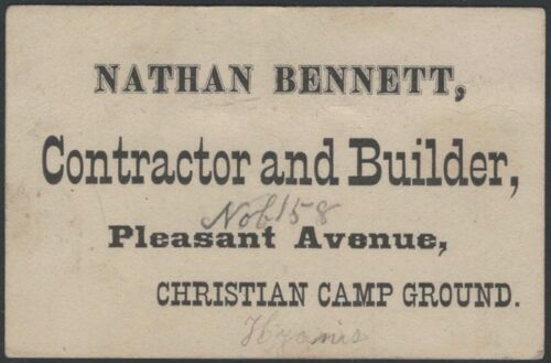 1870s Cape Cod Christian Camp Ground Carpenter Card Barnstable Hyannis